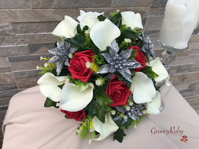 Silver Glitter Poinsettias With Roses & Calla Lilies