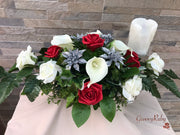 Long Table Arrangement With Silver Glitter Poinsettias With Roses & Calla Lilies