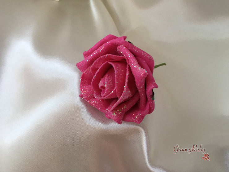 Hot Pink Glittered & Plain Roses With Ivory Calla Lilies & Butterfly Brooch