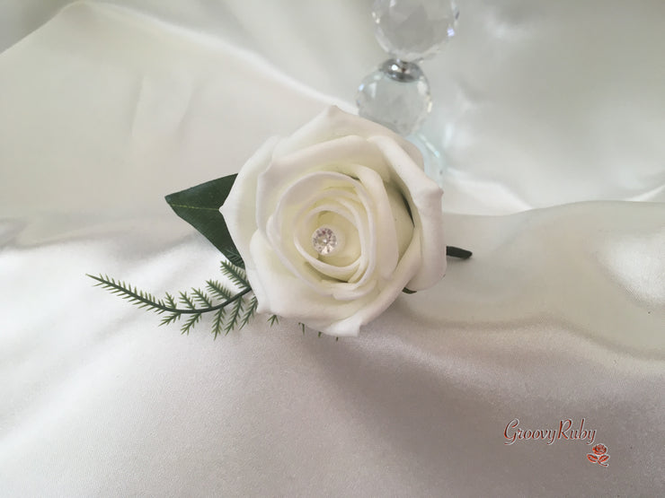 Roses With Lily of the Valley & Pearl Brooch
