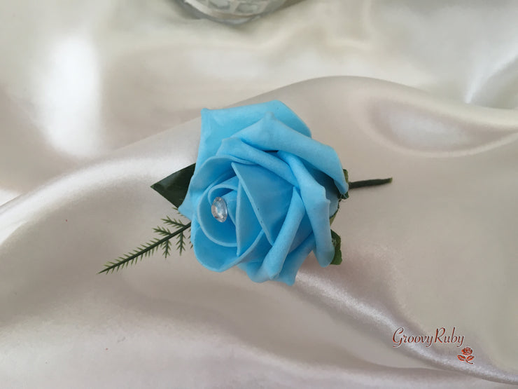 Turquoise & Ivory Roses With Crystal Sprays & Large Glitter Butterfly