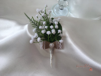 Single Gypsophila Buttonhole