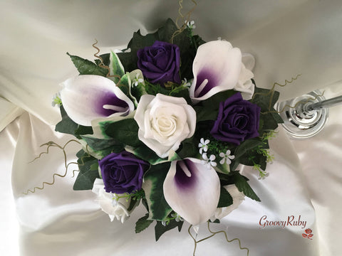 White Purple Centred Calla Lilies & White & Purple Rose Small Round Table Centrepiece