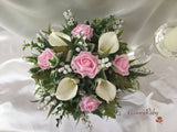 Baby Pink Rose, Lily of the Valley & Large Calla Lily With Diamante Brooch