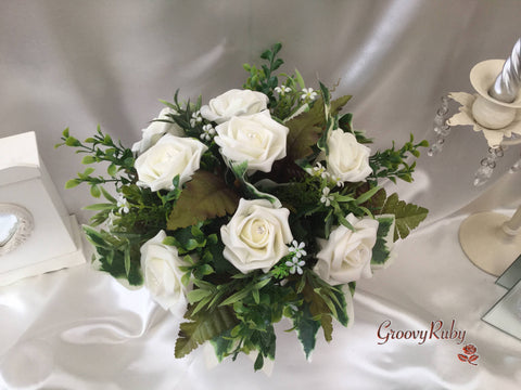 Ivory Rose Small Round Table Arrangement