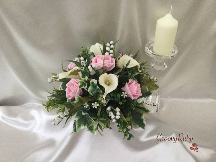 Baby Pink Rose, Large Calla Lily & Lily of the Valley Small Round Table Centrepiece