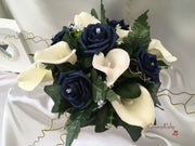 Navy Rose & Calla Lily Small Round Table Arrangement