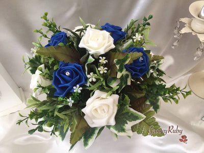 Royal Blue & Ivory Rose Small Round Table Arrangement