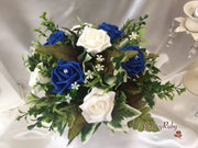 Royal Blue & Ivory Rose With Silver Loops & Babies Breath