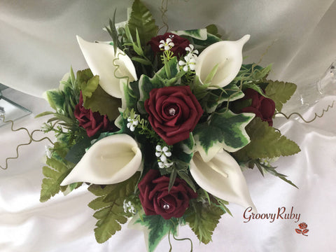 Burgundy Rose & Ivory Calla Lily Small Round Table Arrangement
