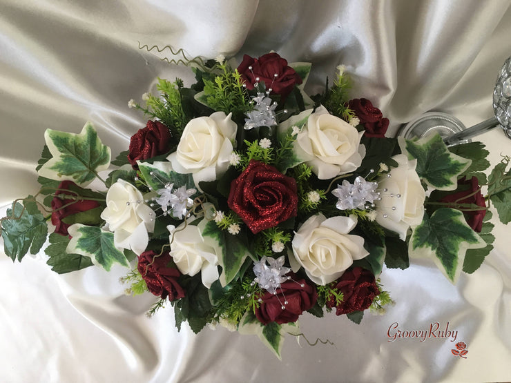 Burgundy Glitter Rose With Silver Babies Breath Long Table Centrepiece
