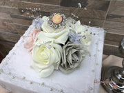 Vintage Cameo With Silver & Crystal Sprays