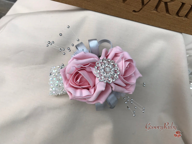 Vintage Pink & Pearlised Silver Roses With Large Diamante Brooch