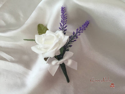 White Rose & Purple Heather Buttonhole