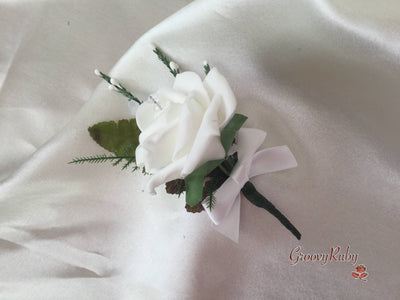 White Rose & White Heather Buttonhole