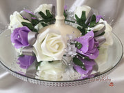 Lilac & Ivory Rose With Silver Babies Breath Wired Candelabra Table Rings