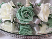 Mint Green & Ivory Rose With Silver Babies Breath Wired Candelabra Table Rings