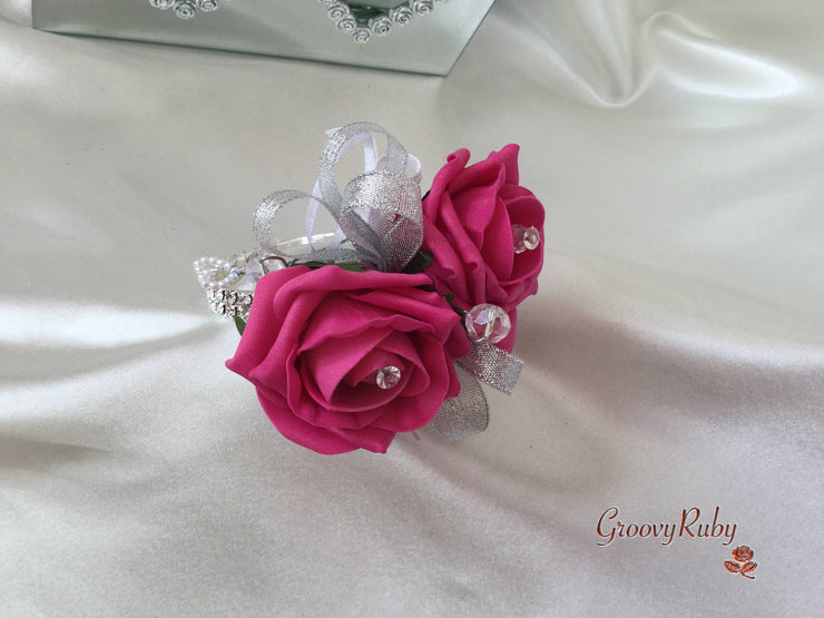 Hot Pink Rose & Calla Lily With Pearl Loops & Diamante Heart Brooch