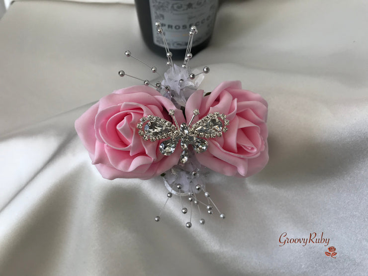Baby Pink & Ivory Rose With Silver & Crystal Butterfly