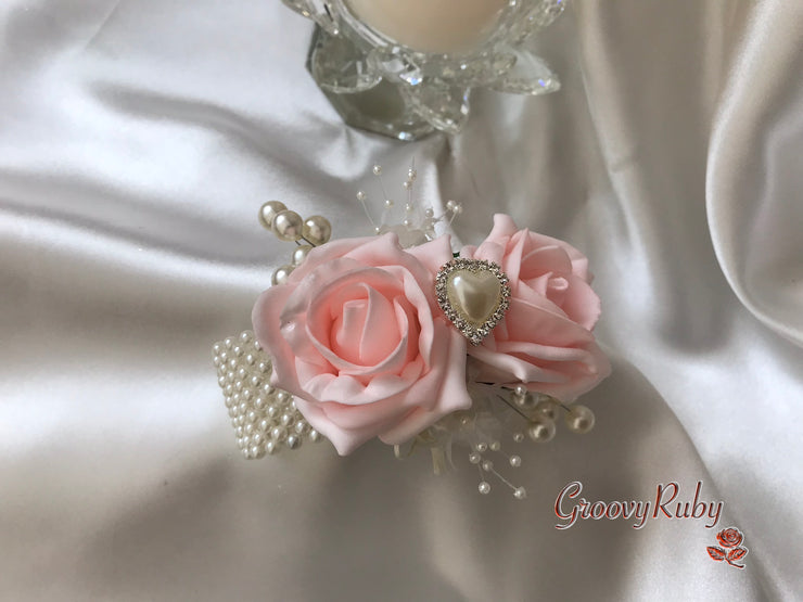 Wrist Corsage, Blush Pink With Pearl Heart Brooch & Sprays