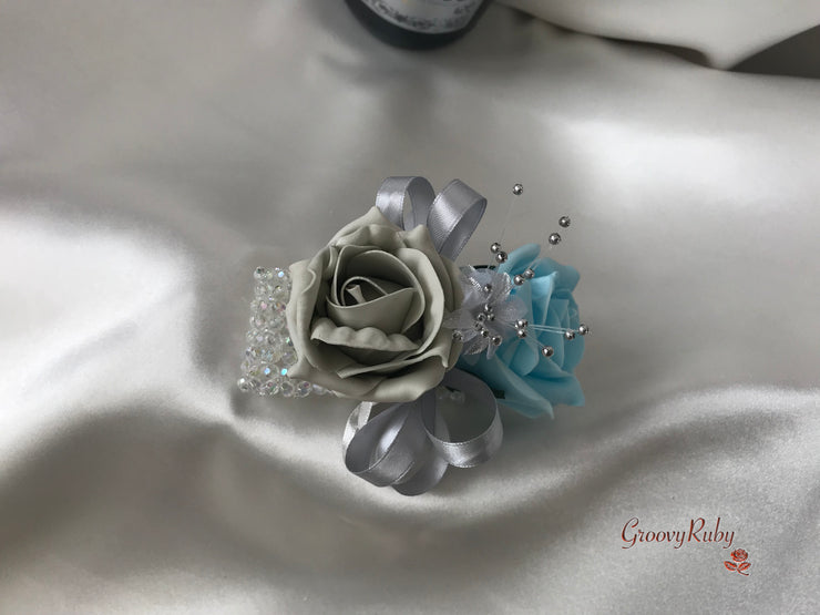 Wrist Corsage, Baby Blue & Silver With Babies Breath
