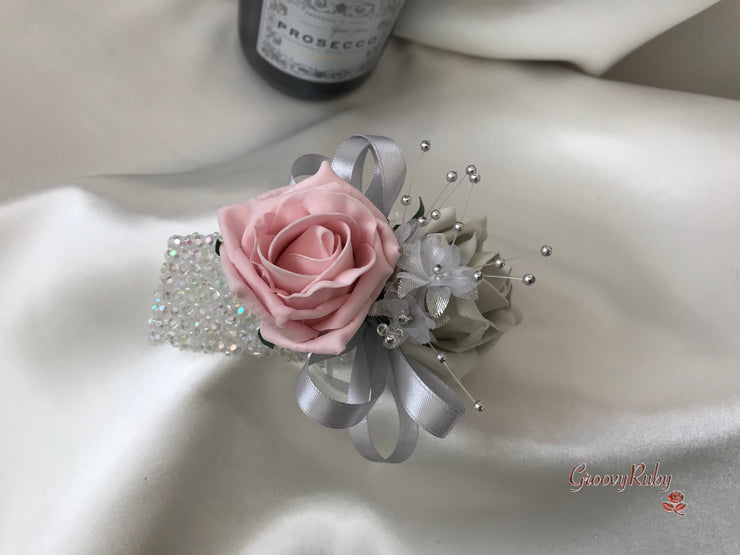 Wrist Corsage, Dusky Pink & Silver With Babies Breath