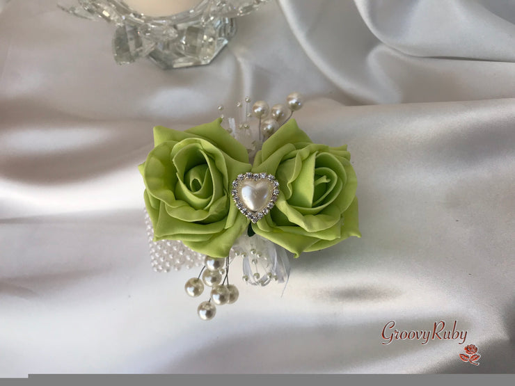 Wrist Corsage, Lime Green With Pearl Heart Brooch & Sprays