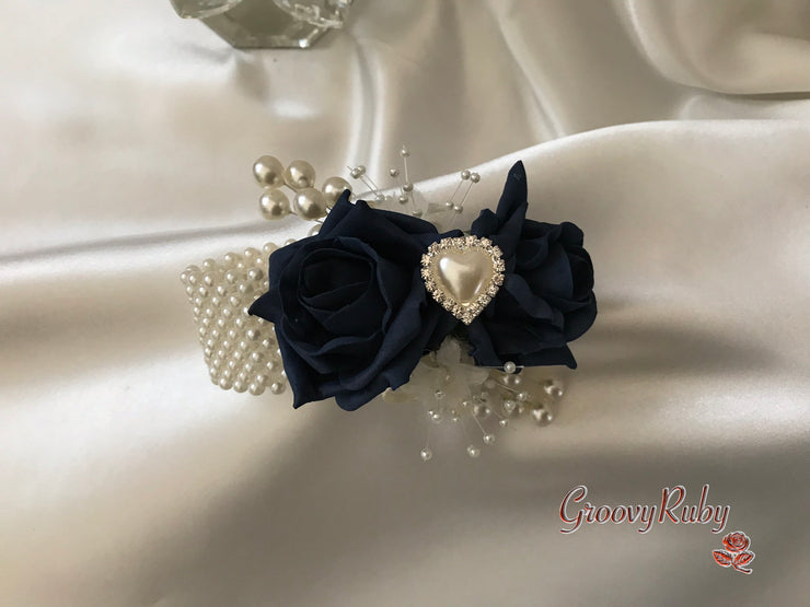 Wrist Corsage, Navy With Pearl Heart Brooch & Sprays
