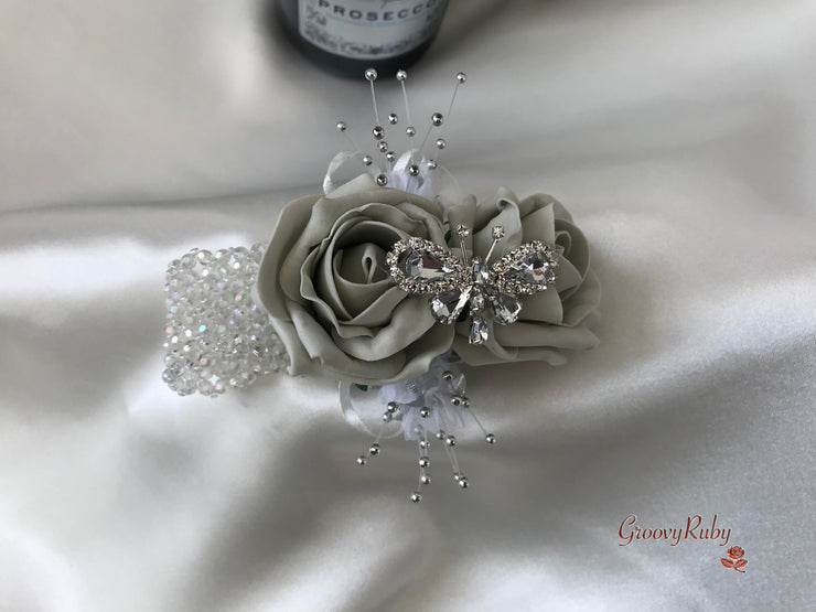 Wrist Corsage, Silver Crystal Butterfly