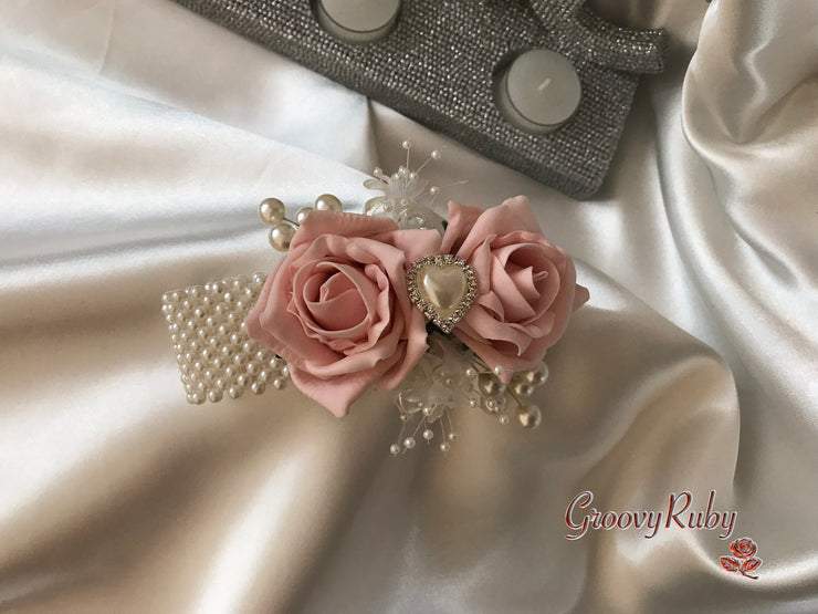 Wrist Corsage, Vintage Peach With Pearl Heart Brooch & Sprays