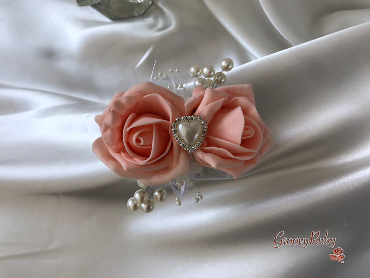 Wrist Corsage, Peach With Pearl Heart Brooch & Sprays
