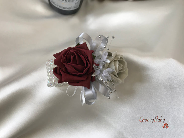 Wrist Corsage, Burgundy & Silver With Babies Breath