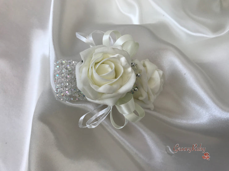 Wrist Corsage, Classic Ivory Rose