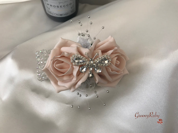 Wrist Corsage, Mocha Pink Crystal Butterfly