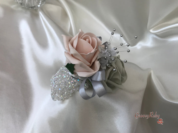 Wrist Corsage, Mocha Pink & Silver With Babies Breath