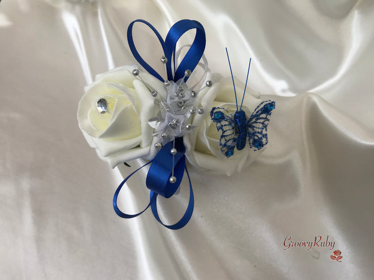Wrist Corsage, Royal Blue Butterfly