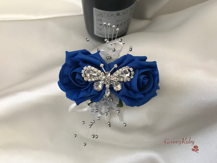 Wrist Corsage, Royal Blue Crystal Butterfly