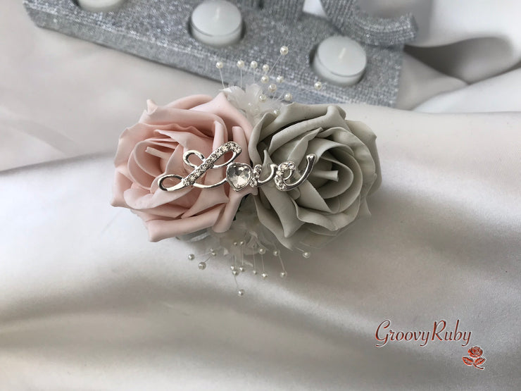 Wrist Corsage, Silver Love Brooch With Mocha Pink & Silver