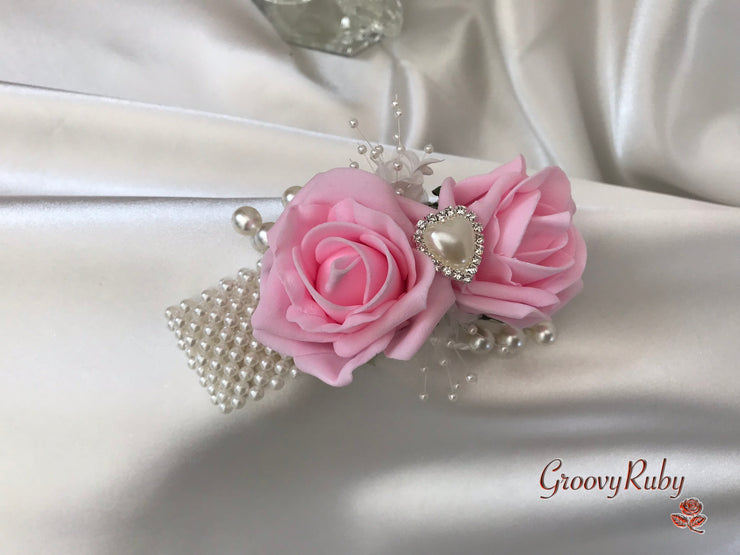 Wrist Corsage, Baby Pink With Pearl Heart Brooch & Sprays