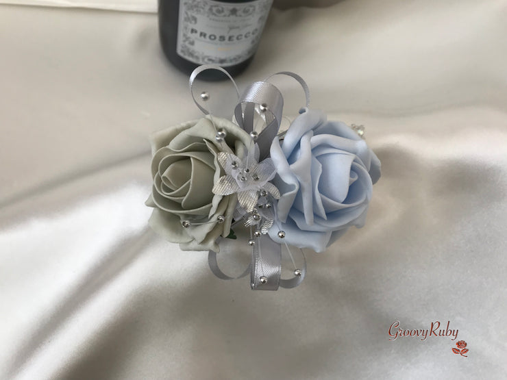 Wrist Corsage, Ice Blue & Silver With Babies Breath