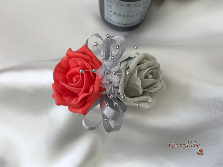 Wrist Corsage, Coral & Silver With Babies Breath
