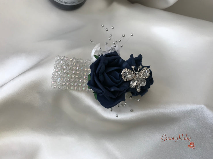 Wrist Corsage, Navy Crystal Butterfly
