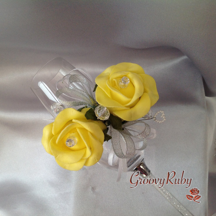 Diamante Wrist Corsage With Yellow Roses