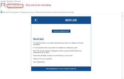 New DVLA Email Scam Email