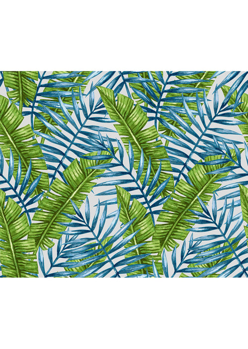 Blue & Green Palm Frond Leggings