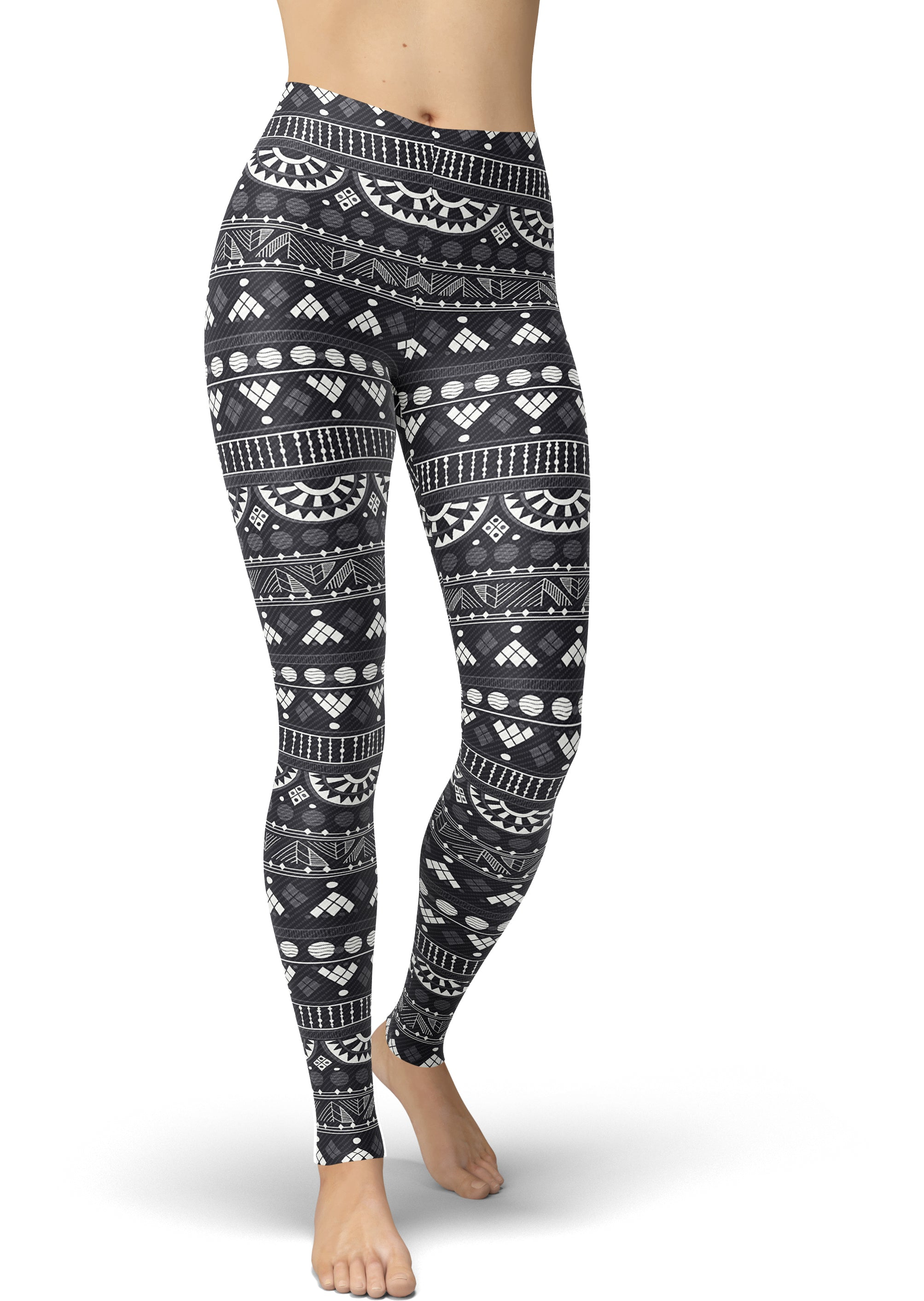 Grayscale Tribal Print Leggings
