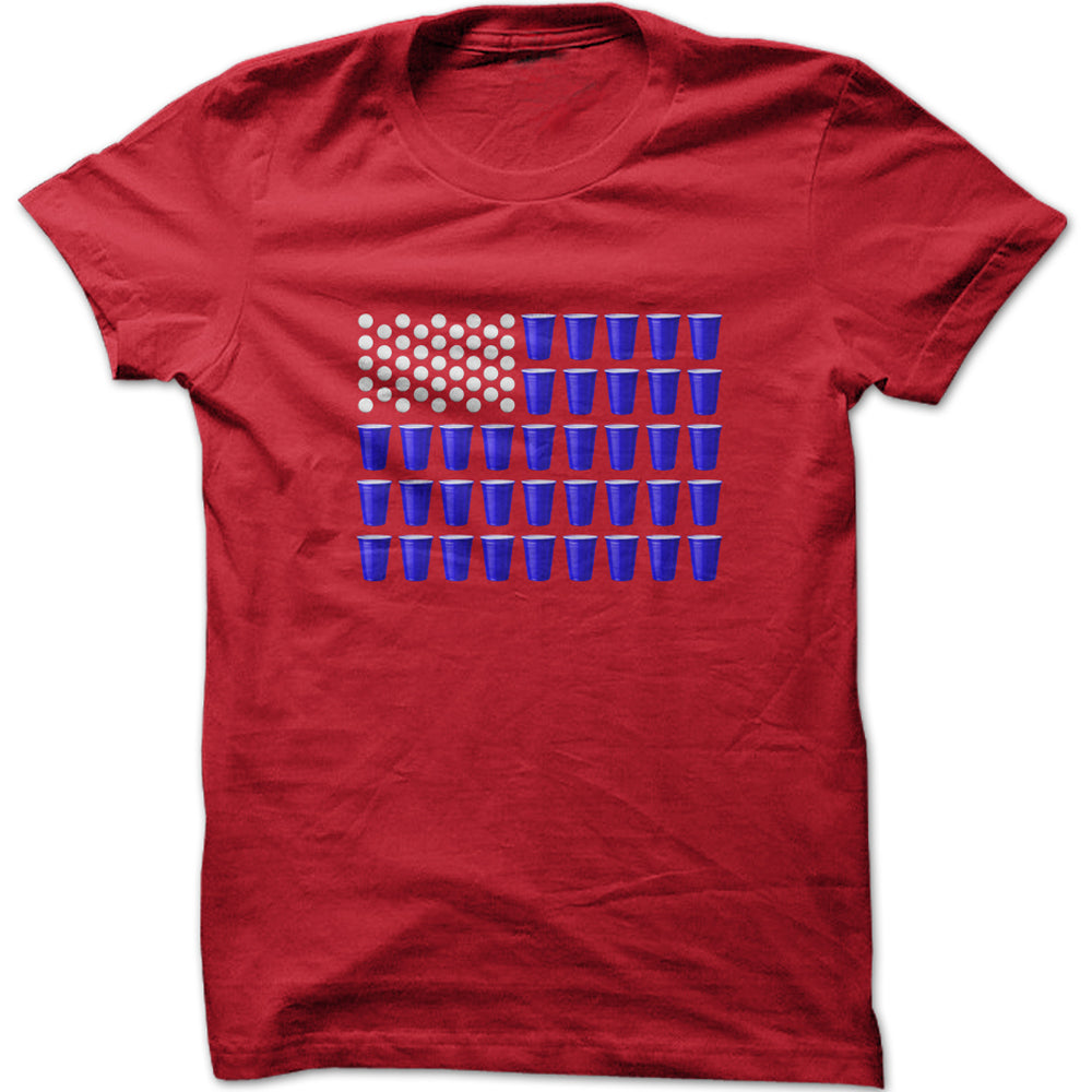 Men's Red Solo Cup American Flag Graphic T-Shirt