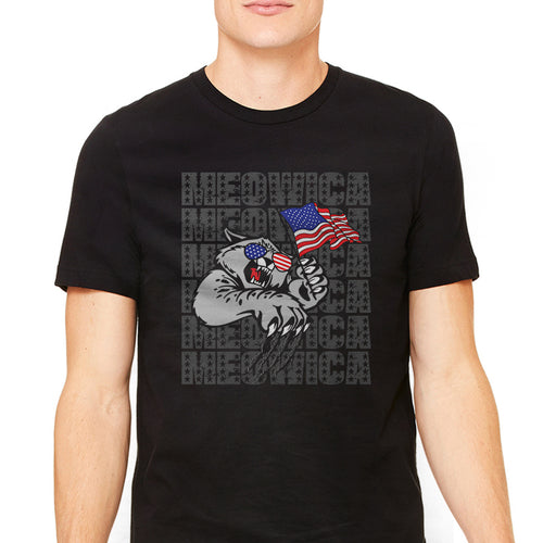 Men's Meowica American Flag Cat Graphic T-Shirt