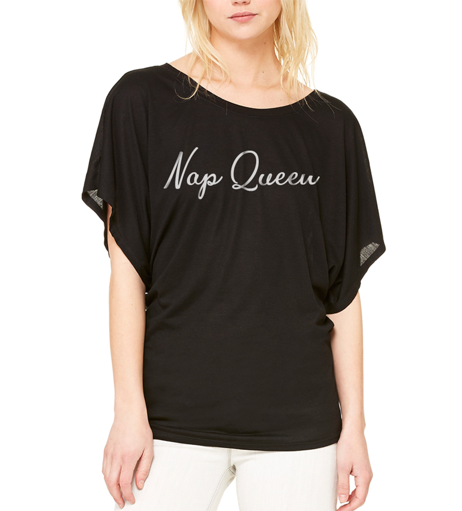 Nap Queen Draped Sleeve Dolman Shirt Black