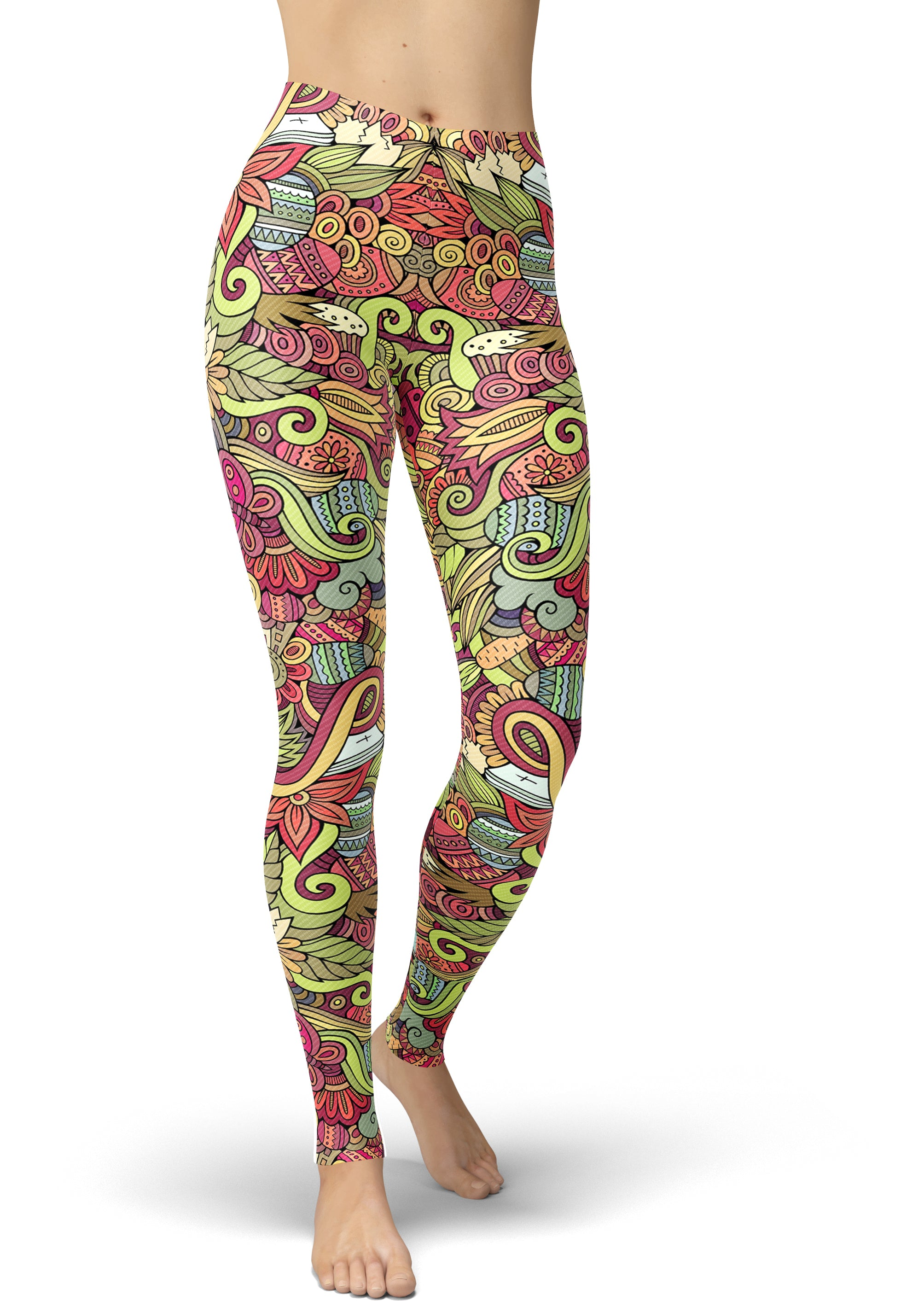 Multicolored Plum Print Easter Leggings